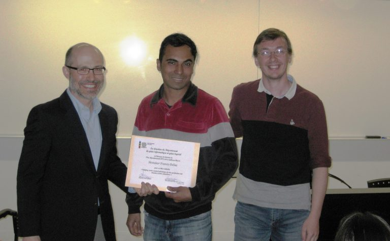 "Receiving the ""Best PhD Thesis 2015"" Award. At my right Dr. Pierre Langlois - Department Director and at my left, my PhD supervisor Dr. Yann-Gaël Guéhéneuc."