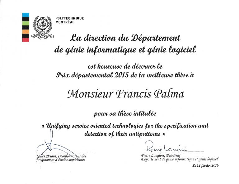 Best PhD Thesis 2015 from the Department of Computer Engineering and Software Engineering, Ecole Polytechnique de Montreal